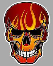 TETE DE MORT FLAMMES FLAMMING HOT ROD BIKER AUTOCOLLANT STICKER 10cmX8cm SA160