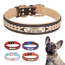 Braided Leather Dog Collar Personalised With Name Engraved Adjustable 4 Colours