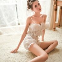 Women Girl Bra & Bloomer Set Lace Ruffle Lolita Camisole Short Sleepwear Retro