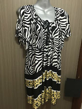 BNWT Womens Sz 14 Autograph Brand Stunning Tan/Black Summer Tunic Top RRP $60