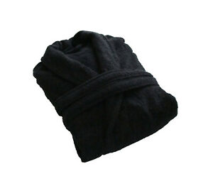 Black Velour Lightweight Dressing Gown Hot Tub Bathrobe 100% Cotton Free Size
