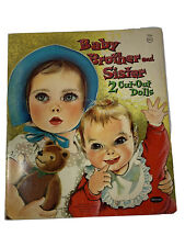 Baby-Brother And Sister- Two Vintage Cut Out Paper Dolls Whitman 1961 Original