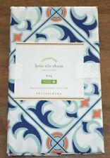 Pottery Barn Lyon Tile King Pillow Sham New Organic Mediterranean Blue White