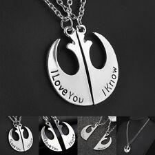 Star Wars Han Solo Princess Leia I Love You I Know Necklace Set Jewellery UK