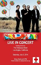 """COLDPLAY """"AT THE HOLLYWOOD BOWL"""" 2014 LOS ANGELES CONCERT TOUR POSTER - Brit Pop"""