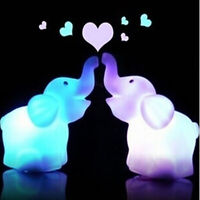 CUTE LED NIGHT LIGHT ELEPHANT 7 CHANGING COLORS ON/OFF SWITCH CHILDREN SMART