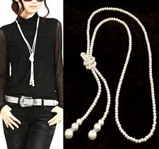 Womens Fashion Artificial Pearl Long Necklace Sweater Chain Charm Party Gift