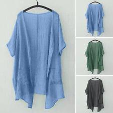 UK New Womens Summer Short Sleeve Open Front Tops T Shirt Blouse Cardigans Coat