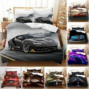 Sports Racing Car Duvet Quilt Cover Bedding Set with Pillowcase Single Double