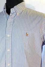 Mens Ralph Lauren Pink & Blue Striped Dress Shirt W/ Multi Color Pony Sz 16.5