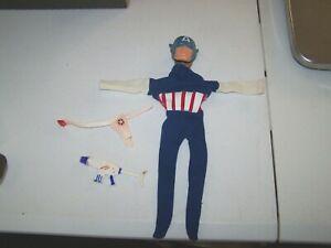 Vintage 1966 Ideal Captain Action Captain America Suit And Accessories Lot