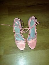 All Saints Leather Lace-up Open Toe Heels Light Coral & Grey Size 4