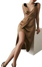 Designer REISS Pia faux wrap satin dress size 12 --BRAND NEW-- below knee