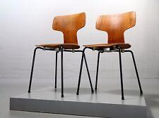 2x Fritz Hansen, Arne Jacobsen 3103 von 1963, Teakstuhl Hammer Chair Vintage