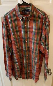 Polo Ralph Lauren Men XL Flannel Button Down Up Plaid Singapore Made Vintage PRL