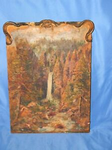 '30s Antique Original Oil PAINTING Water Fall YOSEMITE Mrs. GOULD