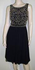 Xscape NWT Size 12 Black Beaded Bodice Pleated Chiffon Cocktail Dress $209 7120