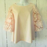 Anthropologie Eri + Ali Samara Top M Medium Blush Pink Crochet Lace Puff Sleeve