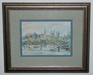 Original Watercolor Painting PARIS Île de la Cité Pont des Arts Seine France