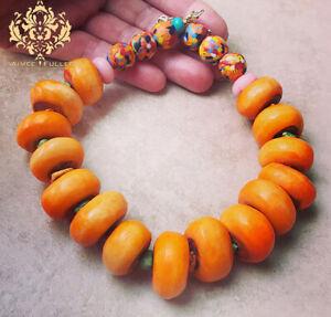 Confetti Glass Bead Orange Krobo Tribe Bone Statement Necklace Africa Ghana Jade
