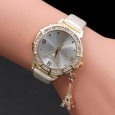 Jewelled Women Quartz Wrist The Eiffel Tower Rhinestone pendant Wrist Watch