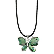 """Butterfly Charm Pendant Fashionable Necklace - Abalone Paua Shell - 16"""" Chain"""