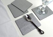 Set of 8 Artisan Silver Bonded Leather Coasters Drinks Cup Mug Mats UK Made