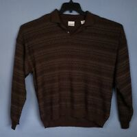 Fieldmaster Mens XL Sweater Striped Long Sleeve Acrylic Wool Blend Polo Pullover