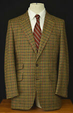 Vtg Turnbull & Asser Tweed Hacking Jacket 38R Gun Club Check Sport Coat England