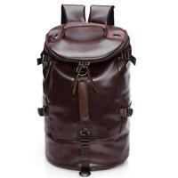 Men Large Travel Duffle  Luggage Bag Leather Backpack Shoulder School Handbag