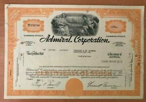 Admiral Corporation . 70 Shares Bond Stock Certificate 1971