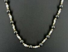 Necklace Hematite Stones Fresh Water Pearls Gold Plate Beads 31 Inches Strand