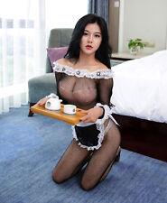 Negro Sexy Fishnet Transparente Para Cosplay vestido elegante delantal de sirvienta camarera