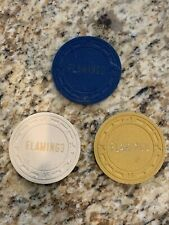 3 Chip Lot Flamingo Las Vegas Casino .25, .50, $1  Chips- Not In Chip Guide?