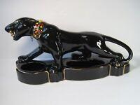 Vintage Ceramic Large Black Panther Figurine Planter Green Crystal Eyes