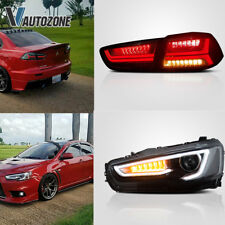 2008-2018 For EVO x Lancer LED DRL Projector Headlights Lamps Black Tail Light