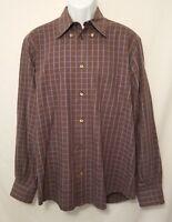 Ermenegildo Zegna Mens Large Brown Plaid Long Sleeve Button Dress Shirt VG