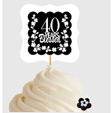 40th Birthday / Anniversary Blessed Cupcake Decoration Toppers  Picks -12ct