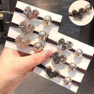 Hair Bobbles Ponytail Diamond love Pearl Stretchy Hairbands Women Fashion Girls
