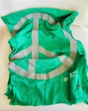 Peace Love World Scarf Green Wrap Graphic Spell Out Print