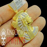 Mens 10K Yellow Gold Silver Egyptian Queen Nefertiti Simu Diamond Charm Pendant