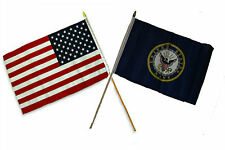 "12x18 12""x18"" Wholesale Combo USA American & Navy Crest Emblem Stick Flag"