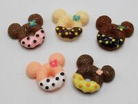 10 Mixed Resin Mouse Head Chocolate Donuts Flatback Cabochon Scrapbooking Craft