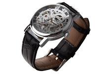 Winner Herrenuhr mechanische Uhr Lederarmbanduhr Silber