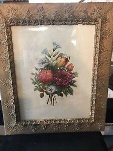 Antique J. L. Prevost Large Botanical Floral Print in Original Gold Frame