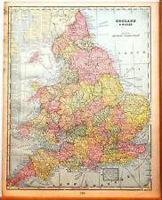 Beautiful Original 1899 England & Wales Large Color Map/11x14