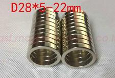 1 50pcs 28mm X 5mm Hole 22mm Disc Ring Round Rare Earth Neodymium Magnets N50