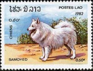 LAOS - 1982 - Samoyed (Canis lupus familiaris) - MNH Stamp - Scott #406