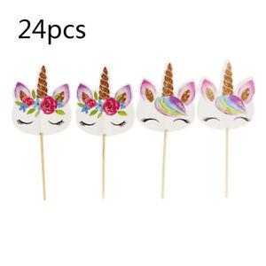24PCS Unicorn Cupcake Topper Birthday Decor Kids Party Favors Anniversary Picks