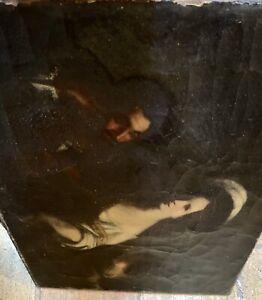 ancien tableau peinture huile HST XVIIIeme à identifier et restaurer portrait